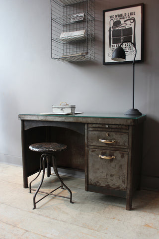 Vintage French Steel Desk