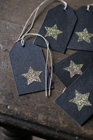 Gold Glittter Star Gift Tag