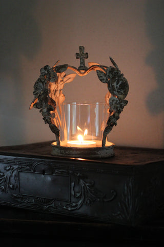 Crown Candle Holder with  roses detail