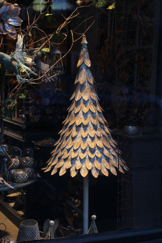 Aged White & Gold Metal Christmas tree