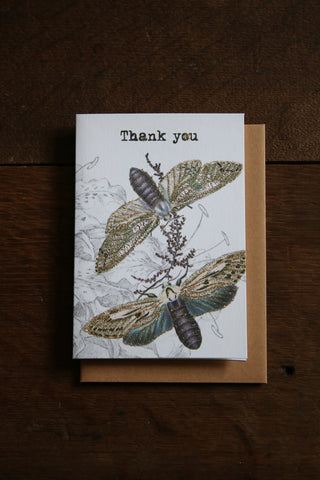 Vanilla Fly Glitter Card - Thank You