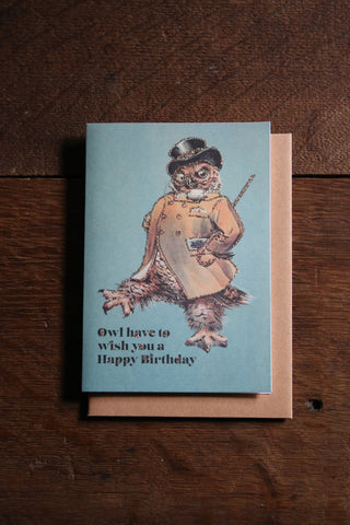 Vanilla Fly Glitter Card - Happy Birthday Owl