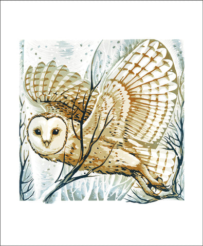 Art Angels Card -Barn Owl, Winter Branches