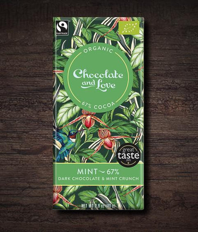 Chocolate & Love Mint Crunch Organic Chocolate Bar