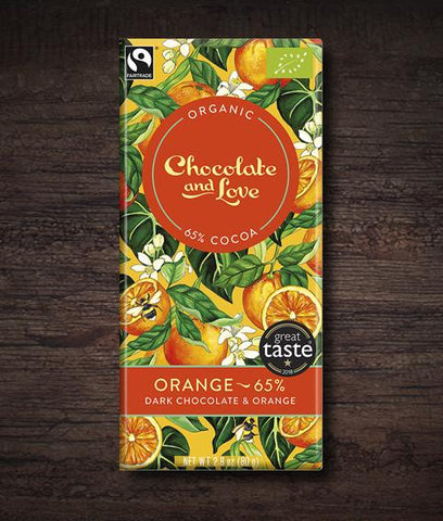 Chocolate & Love - Orange Organic Dark Chocolate Bar