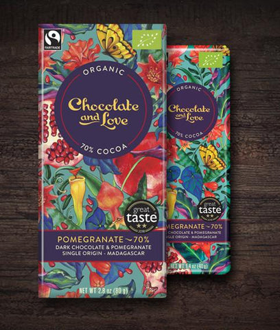 Chocolate & Love -Pomegranate Organic Dark Chocolate Bar