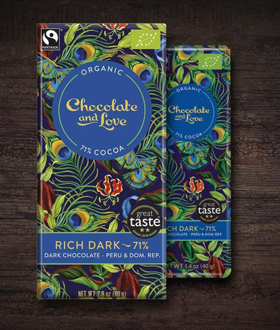 Chocolate & Love -Rich Dark Organic Chocolate Bar