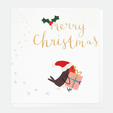 Robin Present Charity Christmas Card Pack of 8