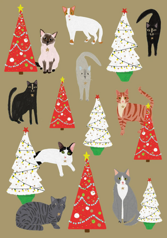 Cat Palais Christmas Cards Pack 5
