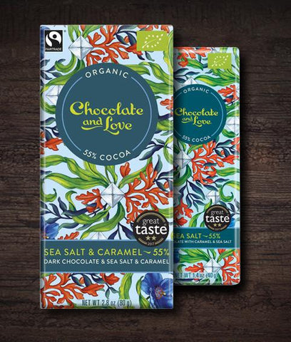 Chocolate & Love -Sea Salt Caramel Organic Chocolate Bar