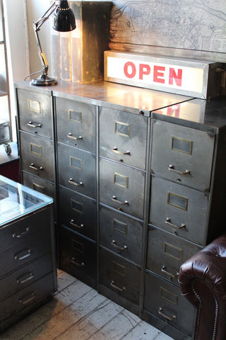 1930'S STEEL 4 DRAWER FILING CABINET