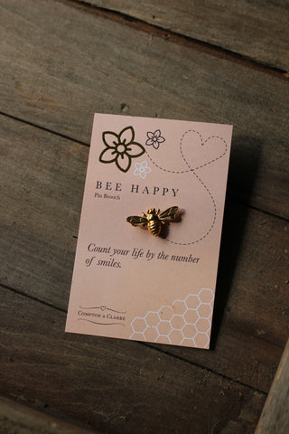 'Bee Happy'  Pin Brooch