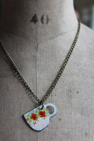 ENAMEL TEA CUP NECKLACE