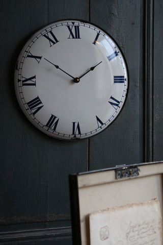 White Enamel Wall Clock