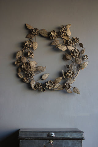 Antiqued Floral Metal Wreath