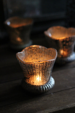 Antiqued Glass Tulip Tealight holder