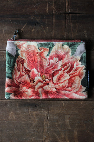 Coral Peony Velvet Pouch