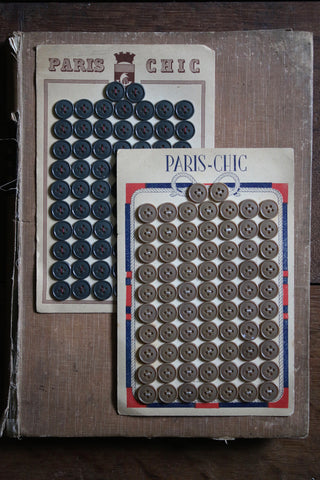 72 Vintage French Buttons on original card