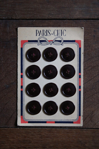 12 Vintage French Buttons on original card - chocolate brown