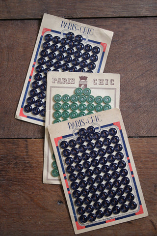 72 Ribbed Vintage French Buttons on original card
