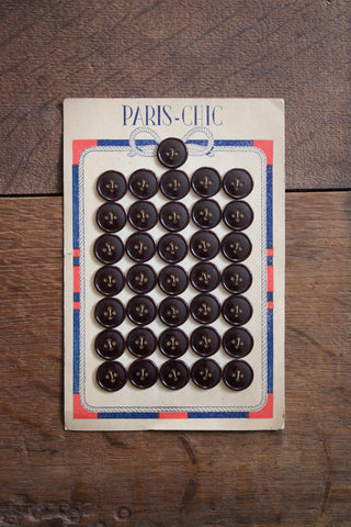 36 Vintage French Buttons on original card
