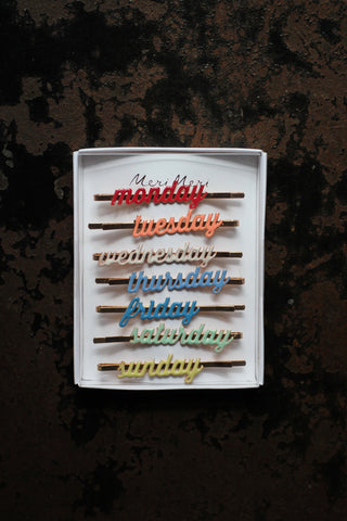 Enamel Week Day Hair Slides