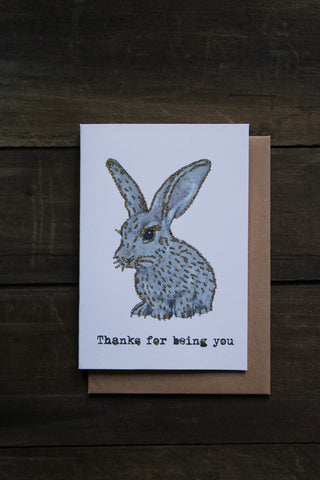 Vanilla Fly Glitter Card - Rabbit Thanks