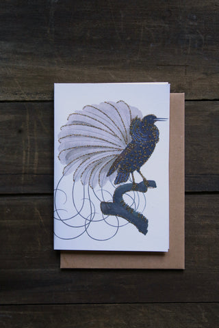 Vanilla Fly Glitter Card - Black Bird