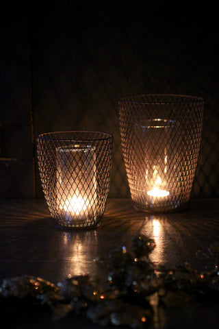 Wirework Hurricane lamp with glass inner.