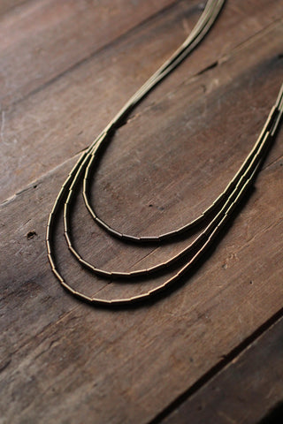 Zebra Long Gold Triple Necklace