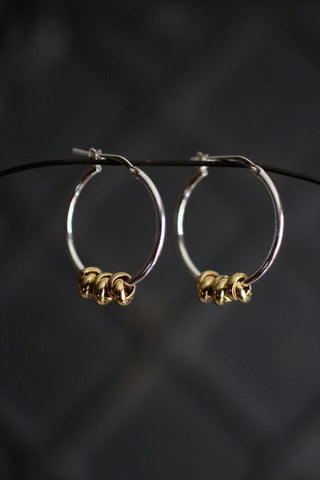 Silver Hoop Earrings with 3 Gold Knots
