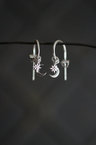 Silver Moon Star Pendant Earrings