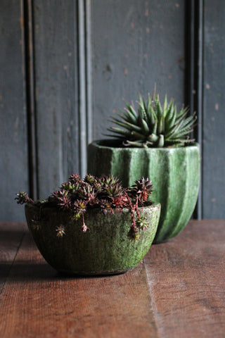 Glazed Forest Green Oval Pots