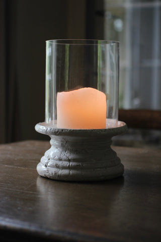 Ceramic & Glass Hurricane Lamp