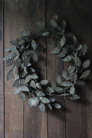 Verdigris Wreath with Leaves
