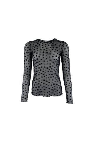 DAISIE dot mesh blouse Black