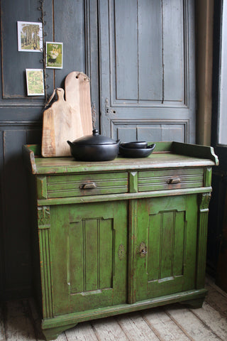 Green Vintage Cupboard & Drawers