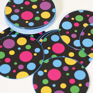 pre-cut art for button making cute polka dot design