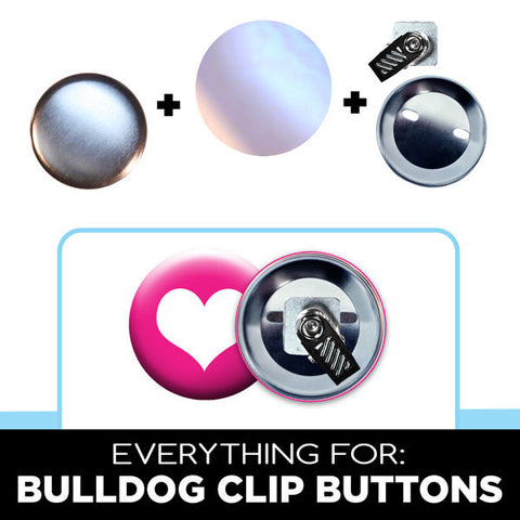 "Bulldog clip backs for 1-3/4"" buttons. complete button parts"