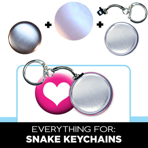 "complete 1-3/4"" snake key ring, key chain parts, buttons"