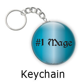 #1 Mage - Blue Keychain. Part of the Comma Error Geek Boutique collection on People Power Press.