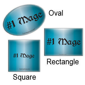 #1 Mage - Blue Oval, Rectangle and Square Buttons. Part of the Comma Error Geek Boutique collection on People Power Press.