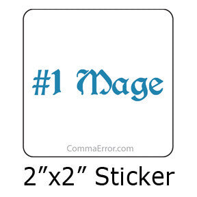 #1 Mage - Blue Sticker . Part of the Comma Error Geek Boutique collection on People Power Press.