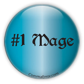 #1 Mage - Blue Button. Part of the Comma Error Geek Boutique collection on People Power Press.