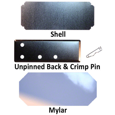 "shell, mylar and pin-back for 1-1/2"" x 4-1/2"" button parts"