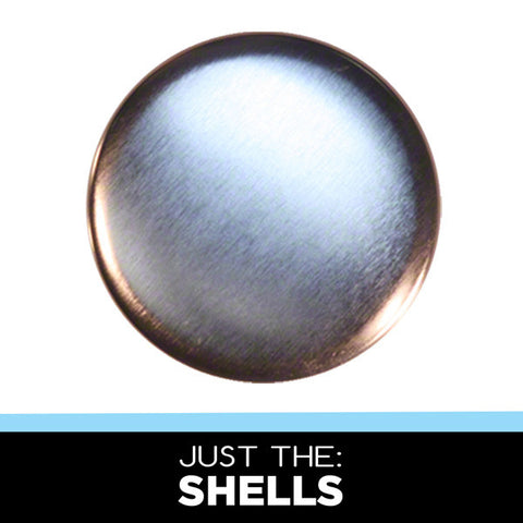 "Tin shells for making pinback buttons with a 2.25"" button press"