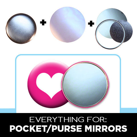 "2.25"" pocket purse mirrors button parts"
