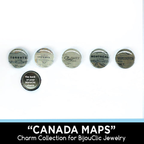Canada Maps 5 Charm Collection for BijouClic Jewelry