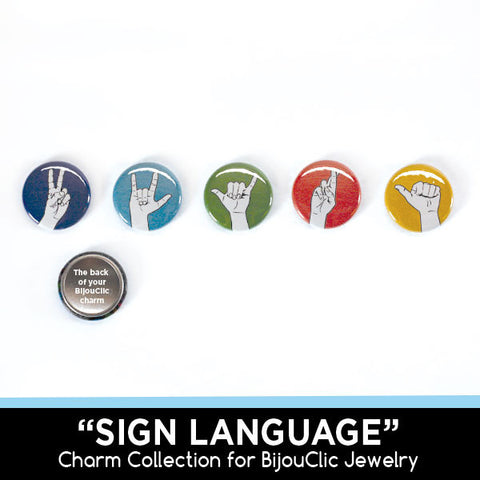Sign Language 5 Charm Collection for BijouClic Jewelry