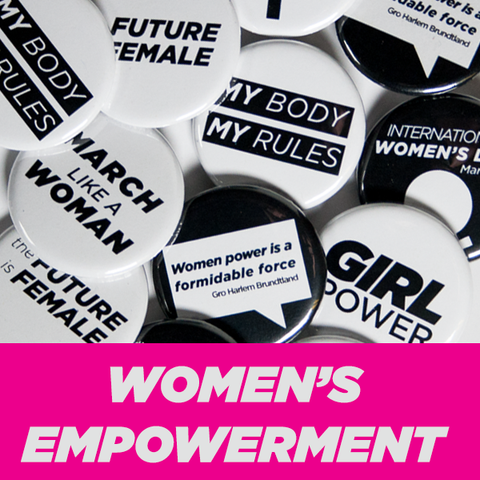 "Women's Empowerment Buttons 1-1/4"" Black and White"